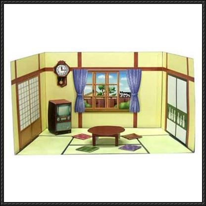 1950s Japanese Living Room Papercraft Set Free Template Download