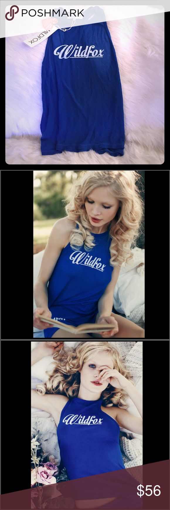 Sale! Wildfox NWT cobalt 60's tank Soft and stunning blue! This perfect Wildfox tank is perfect to match w the cobalt 60's zip up hoodie (also on sale here!) or w your own pants, sweats, or skirts! Wildfox Tops Tank Tops