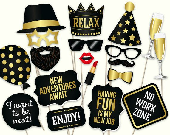 Retirement photo booth props: printable PDF. Retirement party ideas. Retirement party decorations, decor. Digital download, DIY retirement photo props