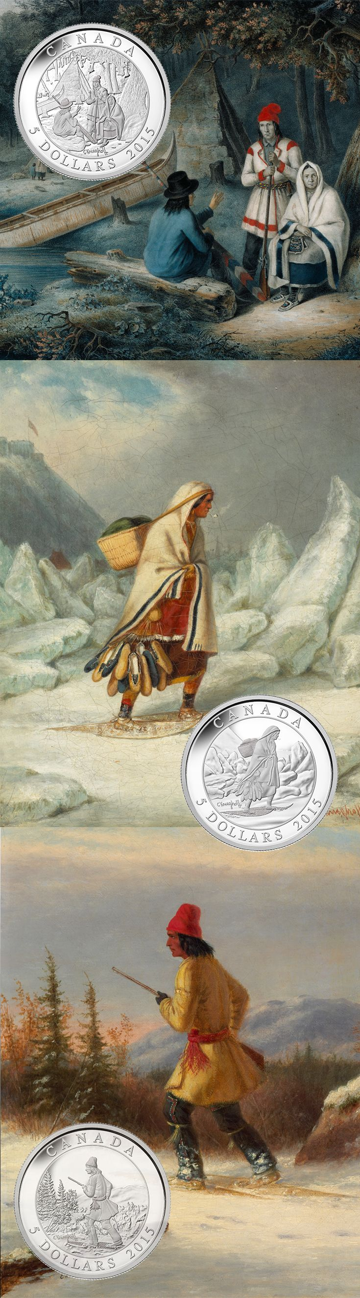 2015 $5 FINE SILVER THREE-COIN SET - CORNELIUS KRIEGHOFF On the 200th anniversary of Krieghoff's birth, this exquisite coin set presents details from three of his most celebrated portrayals. Each image highlights a unique aspect of life in British North America.