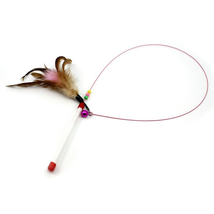 Funny Kitten Interactive Toy Cat Wand Teaser Rod Feather Bell Bead Pet Ball Toys