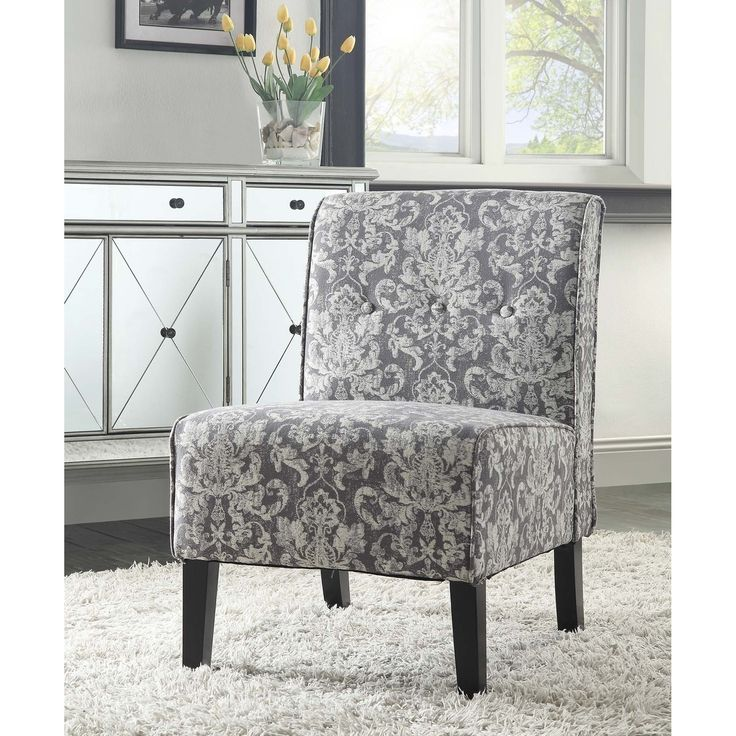 Linon Coco Grey Damask Accent Chair - Overstock™ Shopping - Great Deals on Linon Living Room Chairs
