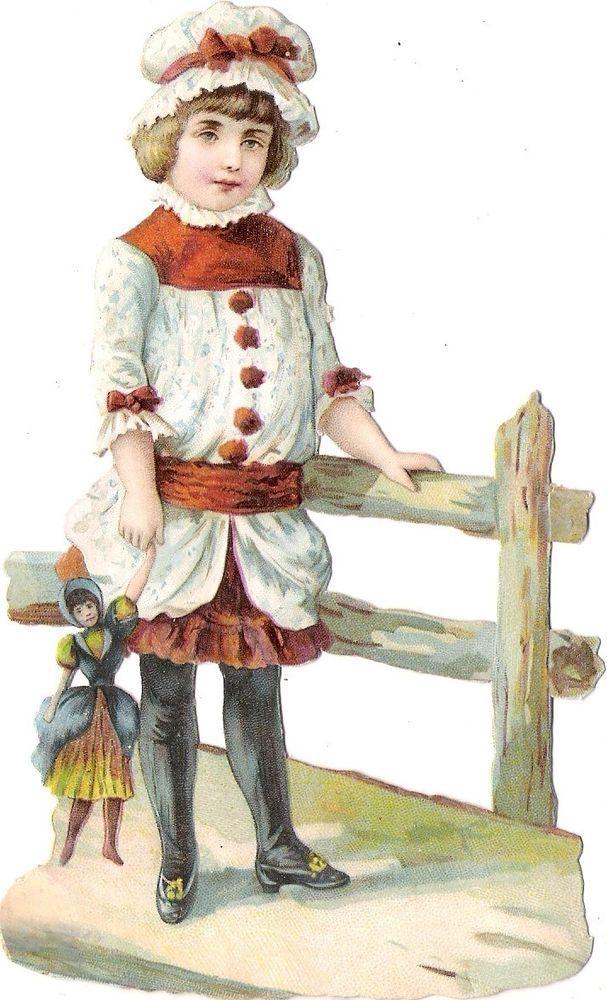 Oblaten Glanzbild scrap die cut chromo Kind child  15cm  Puppe poupee doll girl: