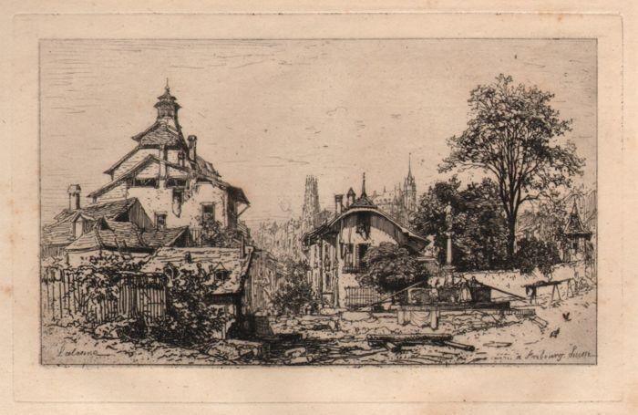 Maxime Lalanne (1822-1886) - bekijken van Fribourg / Suisse - 1868  1150 x 18 cmVel laid papier: 17 x 25 cm.Weergave van Fribourg: dorp met op de juiste cijfers verzameld rond een fontein en aan de linkerkant een hoog gebouw overwonnen door een soort van klokkentoren; illustratie bij het Hamerton van 'etsen en Etchers' (London: MacMillan 1868)EtsenOndertekend op plaat en letters in beeld: 'à Fribourg Suisse'.Referentie:IFF 17Beraldi 1885-92 46Villet. II / IIIMaxime Lalanne (1822-1886)-Franse…