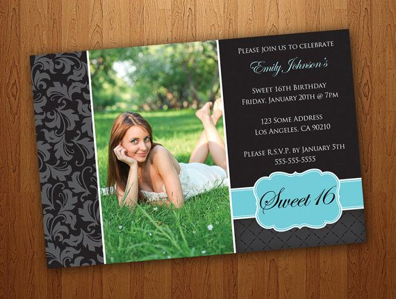 Printable Sweet 16 Invitations / Sweet Sixteen Invitations - Tiffany Blue