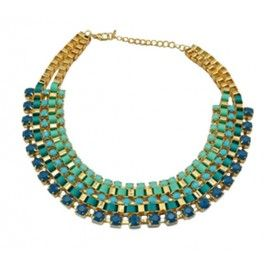 Collar Piedras Verde Azulado - Coquette Collier