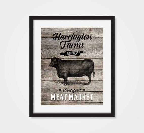 Personalized Farm Art Print Cow Art Print Faux Wood Country Decor Beef B