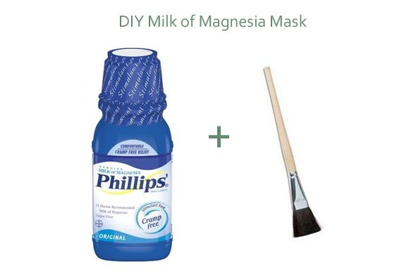 DIY milk of magnesia mask - Milk of Magnesia is a liquid saline laxative. When taken orally it works by drawing water out of the colon. It benefits oily skin the same way as a clay mask and draws out excess oil in the skin. Milk of Magnesia is a little bit more gentle than clay and a great option if you are more on the sensitive side. Only recommended for oil/acne prone skin