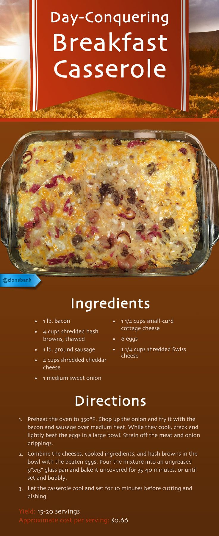 Get energy to tackle a busy day with all the best breakfast foods in this gooey, layered casserole.   @jesslmt3  So leave out the cottage cheese and this sounds good.