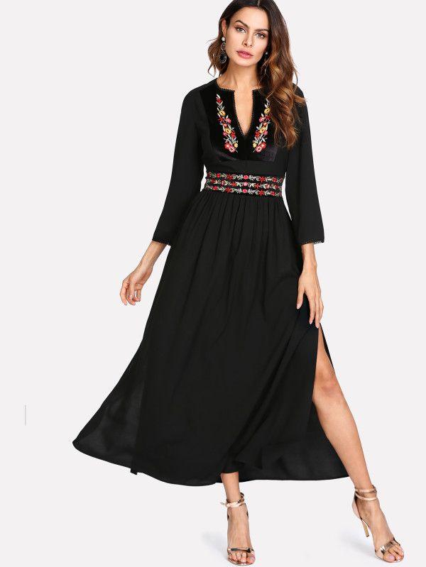 Shop Embroidered Velvet Panel Side Slit Dress online. SheIn offers Embroidered Velvet Panel Side Slit Dress & more to fit your fashionable needs.
