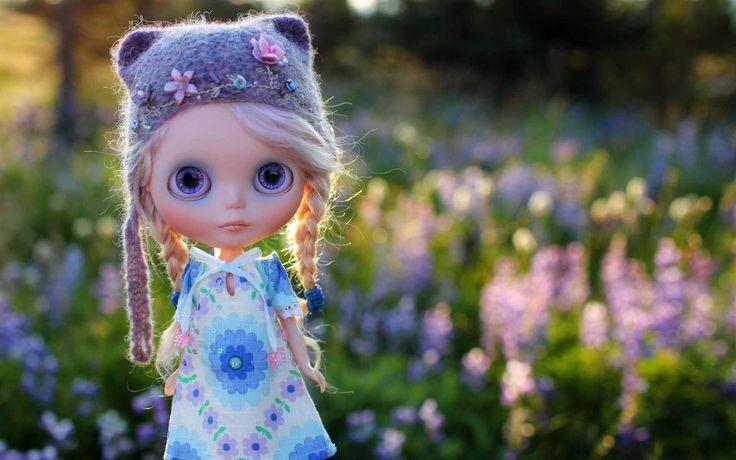 Doll Toy Field Grass Flowers Wallpaper   HD Anime Wallpaper Free Download