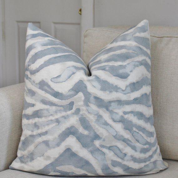 Blue Zebra Pillow Cover Animal Print Custom Pillow Cover