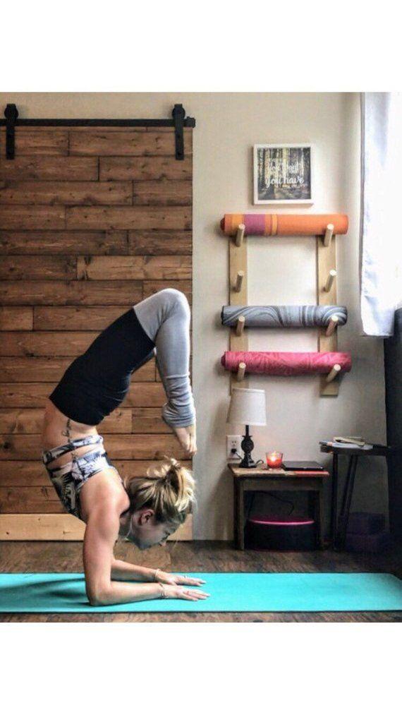Basic Yoga Mat Rack Handcrafted Yoga Decor Workout Organizer Yoga Mat Holder Yoga Accessories Home Yoga Room Yoga Decor Yoga Studio Home