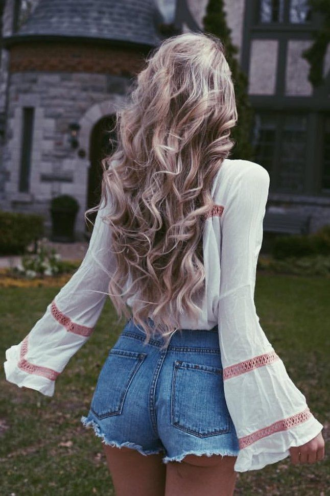 #summer #outfits White Bell Sleeve Blouse + Denim Mini Short