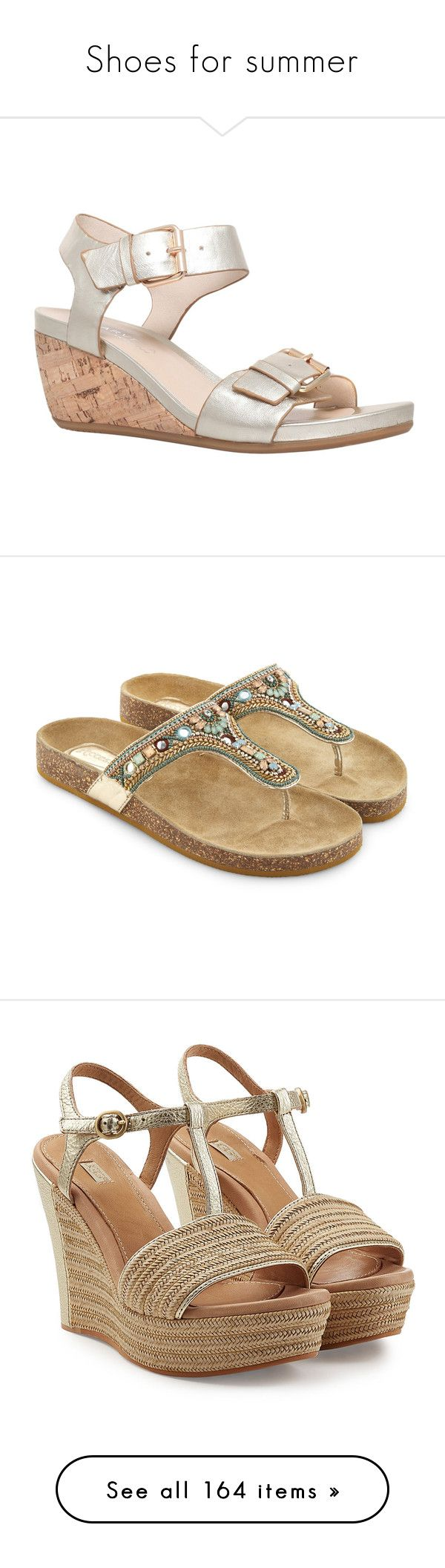 """""""Shoes for summer"""" by tasha1973 ❤ liked on Polyvore featuring shoes, sandals, gold, flat sandals, summer flat sandals, wedge sandals, low heel wedge sandals, flat shoes, beaded sandals and strap shoes"""