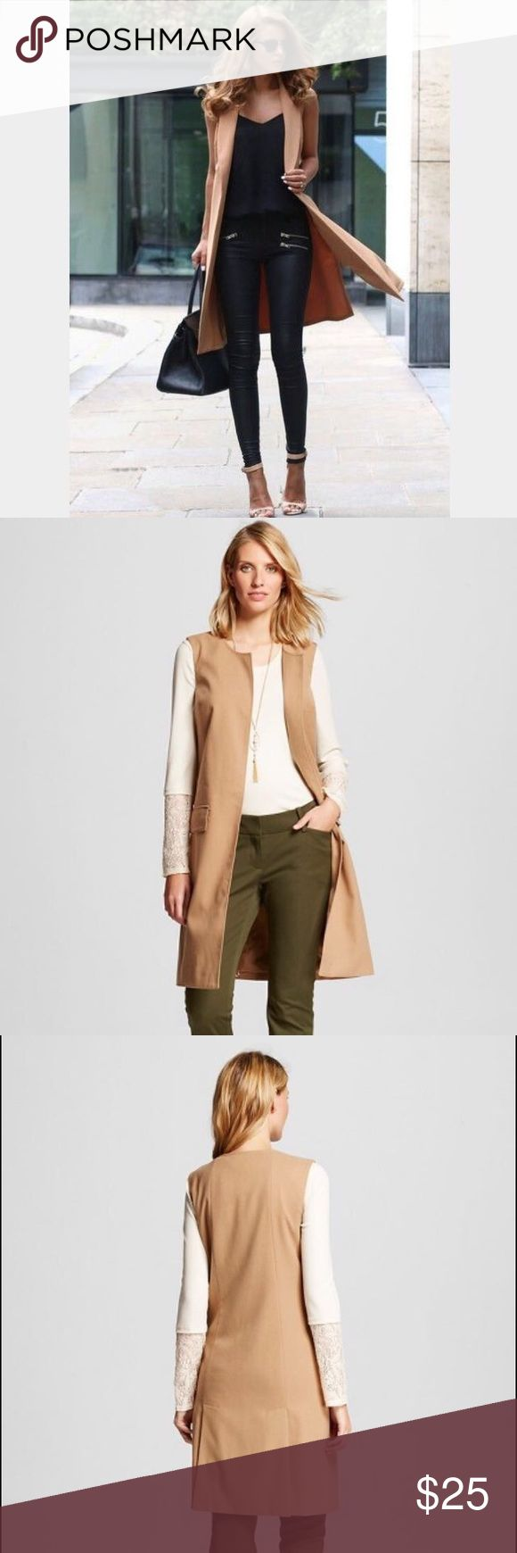Fashionista Camel Vest Merona Camel Vest  Beautiful Dressy Blazor  Front flap pockets  Gazelle Brown  70% poly 25% Rayon 3% Wool 2% Spandex Brand new with tags Merona Jackets & Coats Vests