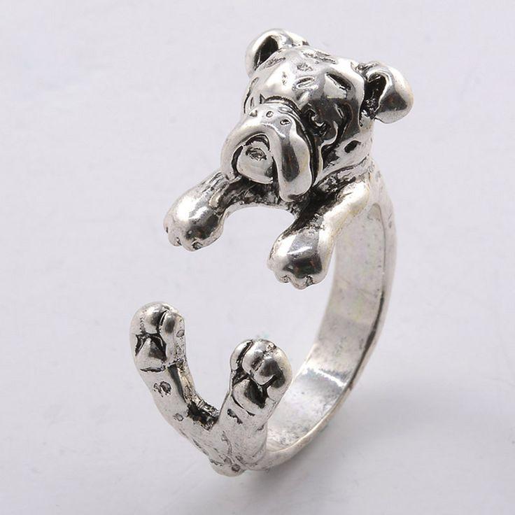 shunyun 30pcs Wholesale New 3D Animal French Bulldog Ring Men Women Animal Adjustable Ring French Dog Vintage Ring For Girl Gift #Affiliate