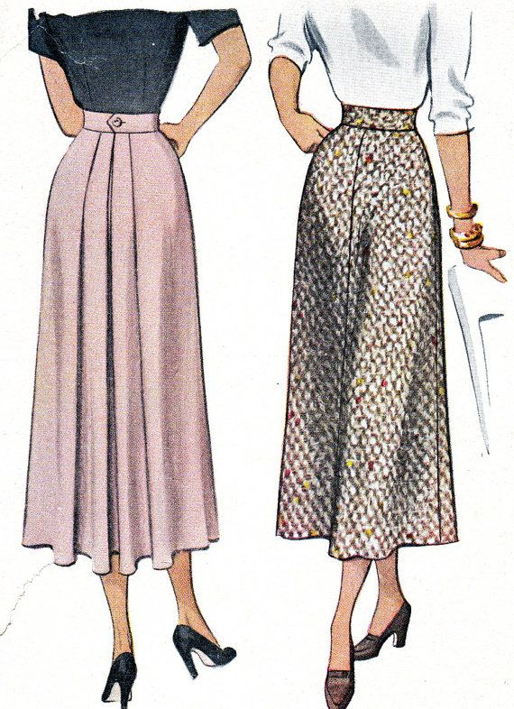 high waisted patterns | 1940s Skirt Pattern McCall 7522 Misses High Waist Gored Skirt with ...