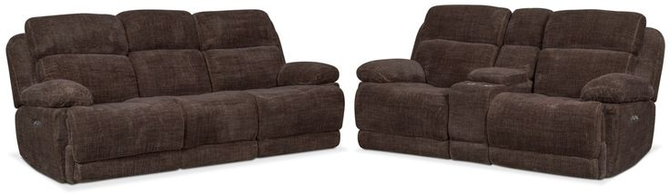 Monte Carlo Dual Power Reclining Sofa And Reclining Loveseat Set - Brown