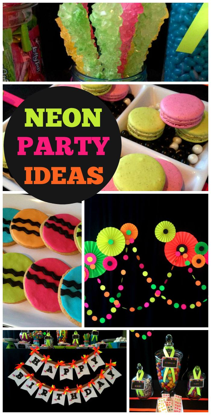 A glow in the dark party featuring a neon treats dessert table and a paper rosette backdrop!  See more party planning ideas at CatchMyParty.com!
