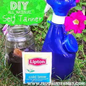 Self tanner with tea-2cups water,4-5 tea bags. Boil tea, let cool, spray or rub in and allow to dry. Build in layers if desired.