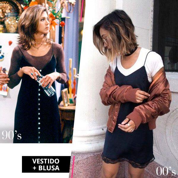 A tendência vestido + blusa voltou com tudo direto dos anos 90.