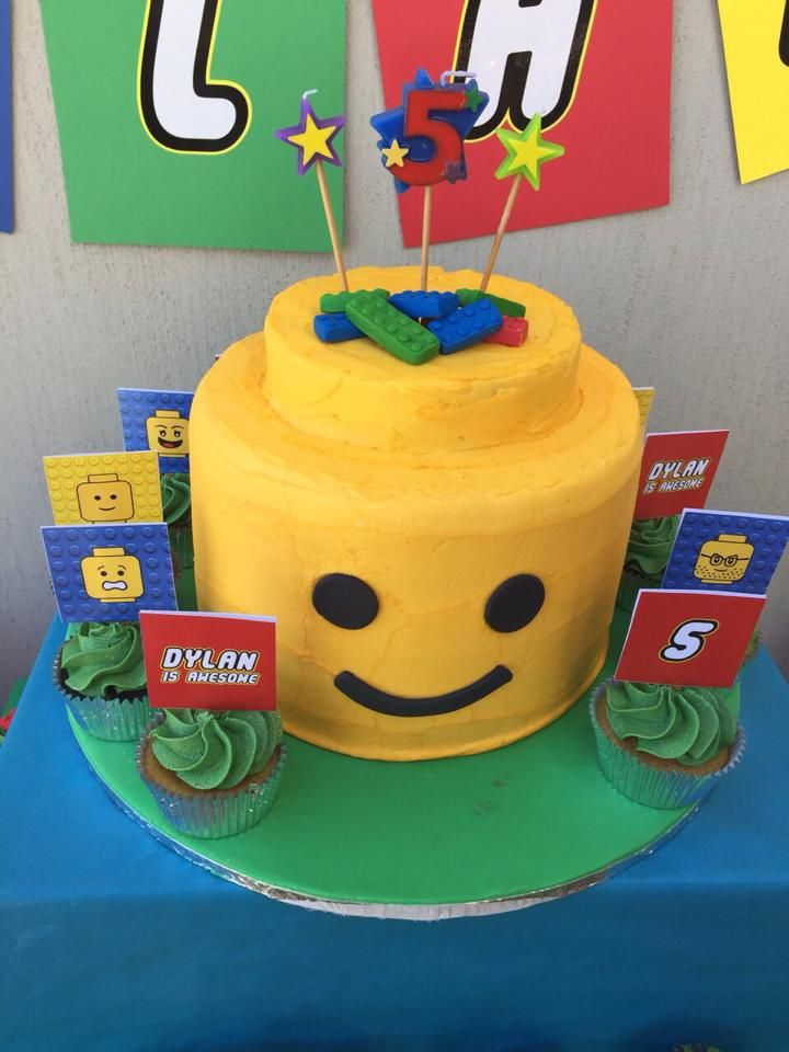 Lego cake with red, yellow, blue and green cake inside