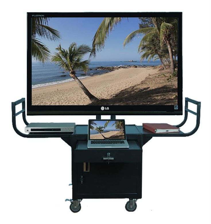 """Rolling TV Stands with Mount for Monitors up to 65"""", 2 Curved Handles - Black"""