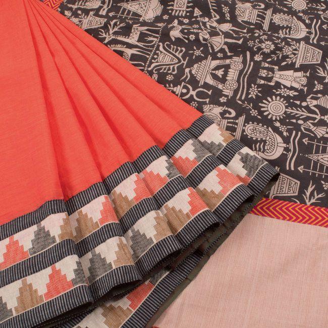 Tvaksati Handcrafted Chettinad Cotton Concept Saree with Kalamkari Hand Block Print Pallu 10007765 - profile - AVISHYA.COM