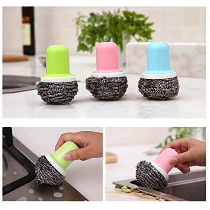 10L0L Japan Replaceable Stainless Steel Scourer Pads Sponges Cleaning Brush with Handle for Kitchen Bathroom Pan Pot Oven Grill(3 Pack) -- Continue to the product at the image link. (This is an affiliate link and I receive a commission for the sales)