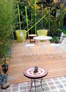 Jardin de ville - Rennes - Terrasse en acacia et pavés de grès