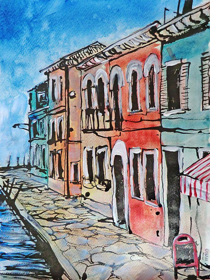Venedig. Strassenansicht / Acryl & Aquarell, Tusche, 30 x 40 cm, 2015