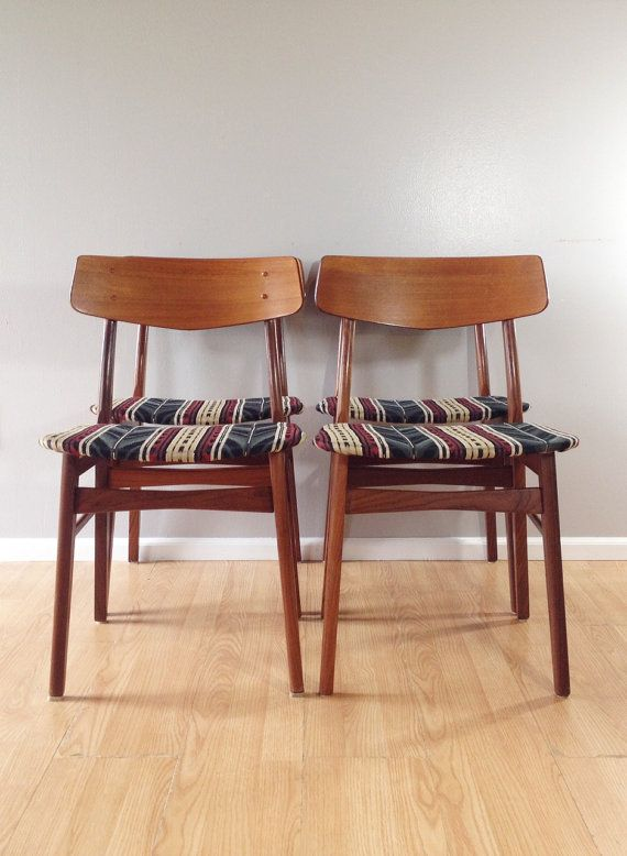 set of 4 vintage dining chairs with southwestern upholstery. mid century modern furniture. | ReRunRoom |