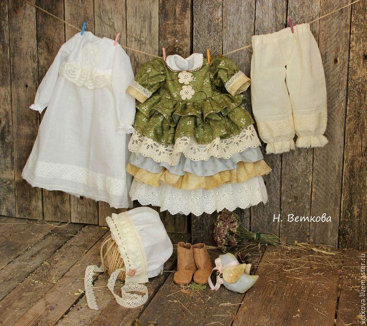Купить Феодора коллекционная текстильная интерьерная кукла на счастье - болотный, оливковый, зеленый, золотой, куклы