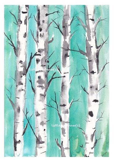 Birch+Trees+Mint+Teal+Forest++Watercolor+Painting+by+littlecatdraw,+$13.50