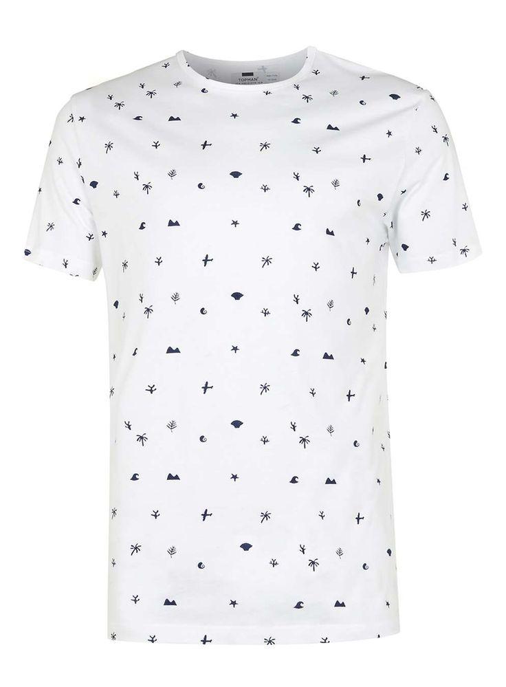 T-shirt blanc et bleu marine avec imprimé de formes - TOPMAN FRANCE