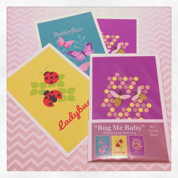 "Bug Me Baby Set of 3 -  Butterflies, Ladybugs, & Bees  Illustrations  5.5"" x 8.5"""