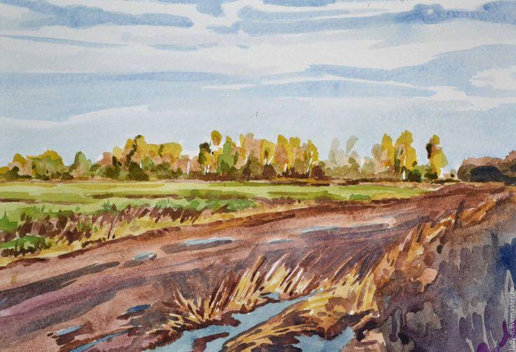"""Купить """"Распутица"""", картина, акварель - голубой, коричневый, желтый, зеленый, небо, осень, березы"""