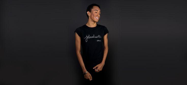 The men's round-neck tee-shirt. Photo: Naskademini Make-up: Mindy Shear