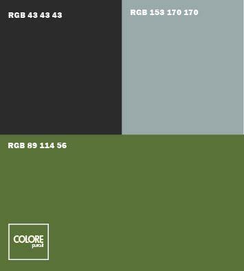 Abbinamento colori verde scuro  ner o grigio freddo