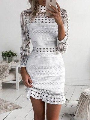 8cd1a4338d Elegant Crochet Lace Hollow Out Sheath Dress
