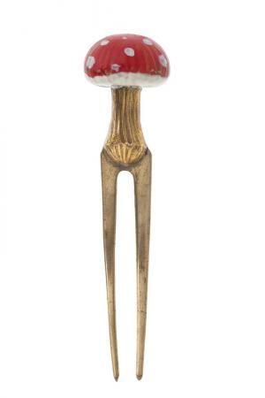 'Shroom' hair pin by Elsa Schiaparelli c1936-1939   Gilded and enameled metal.  | Les Arts Décoratifs, Paris.