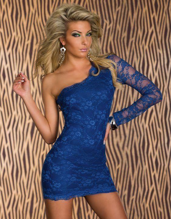 Vestido de noche de encaje en color azul
