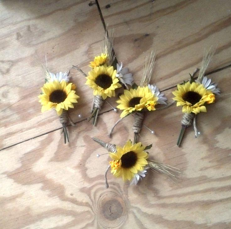 Western Wedding Boutonnieres   boutonniere, set of 3 groomsmen buttonholes silk Sunflower Wedding ...