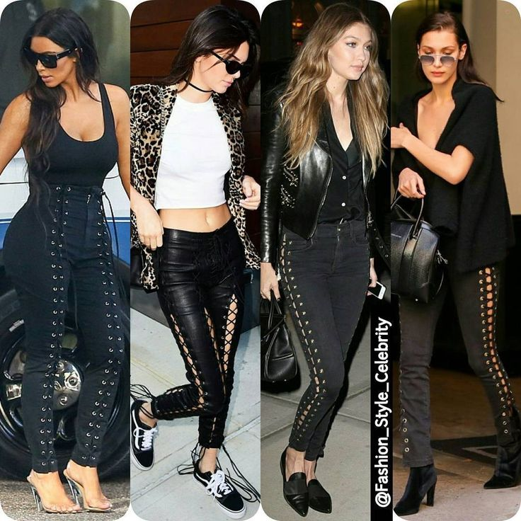 TREND ALERT- Lace Up Trousers#KimKardahsian#kendalljenner#GigiHadid#BellaHadid#trend #chic #beautiful #socialite #heels #black #Croptop #sunglasses #coffee #jeans #lace #leatherpants #lacepants #laceup #lacepants #clothing #flats #rippedjeans #supermodel #beauty #makeup... - Celebrity Fashion