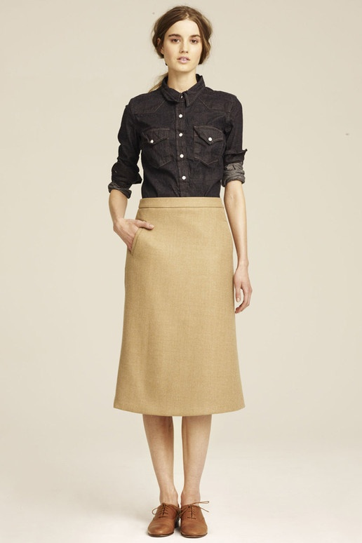 THIS for fall please. oxfords, tan skirt, chambray top (j. crew 2011): Fashion, Fall Style, J Crew, Jcrew Fall, Style Pinboard, 2011 Rtw, 2011 Ready To Wear, Fall 2011
