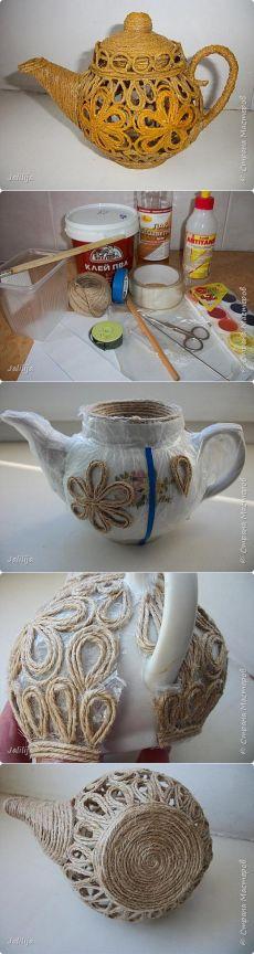 Чайник в технике джутовой филиграни