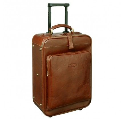 Tan Leather Wheeled Luggage (The Piazzale) #luggage #trolley #leather #cabinbag