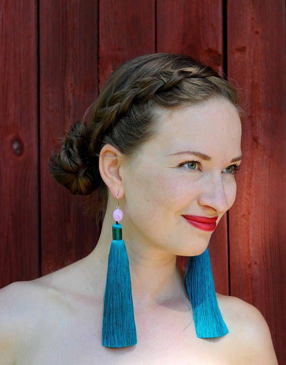 Milanka Design long silky tassel earrings.