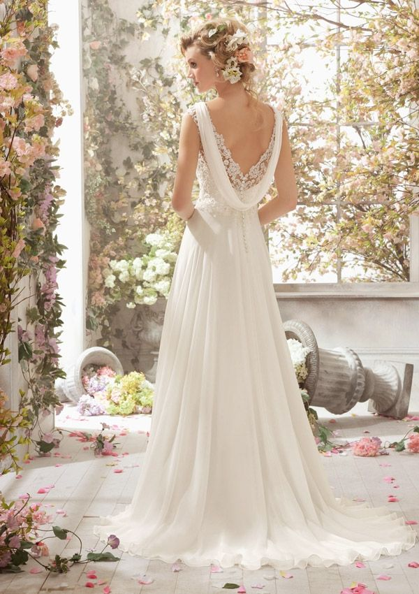 Simple A-line Straps V-neck #Beading&Sequins #Lace Ruching Sweep/Brush Train Chiffon #WeddingDresses